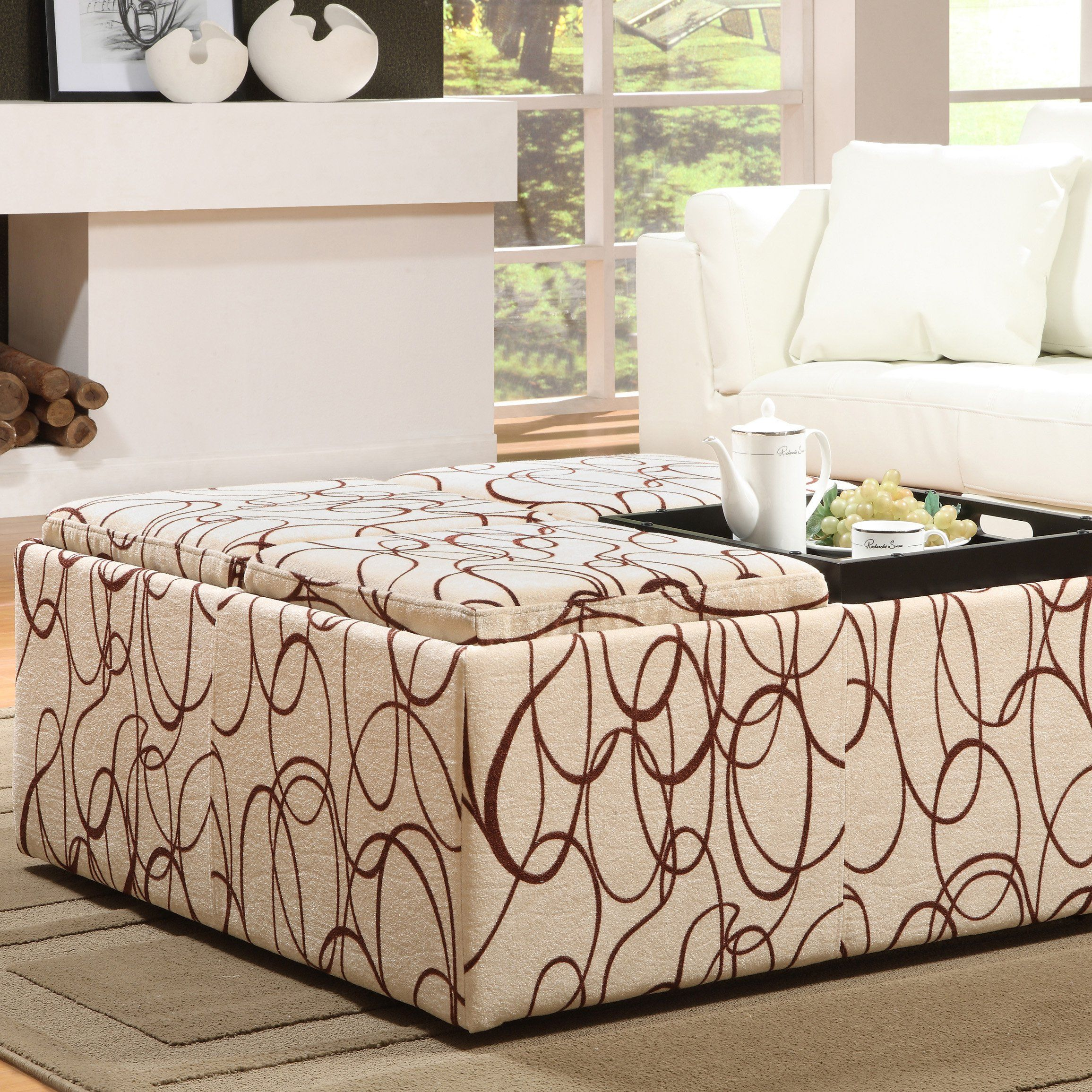 Large Ottoman Tables | Scroll Extra Large Storage Ottoman With Serving  Trays   Coffee Tables .
