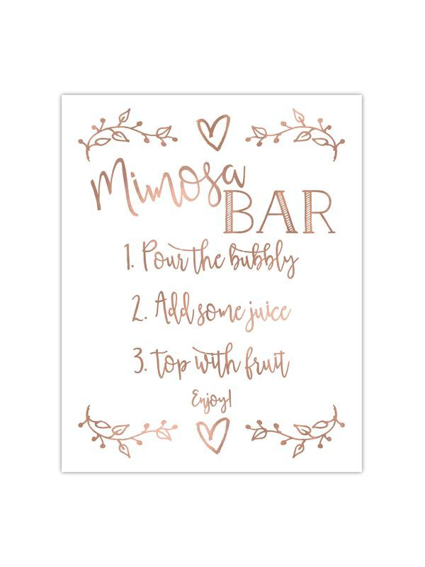 Our foil printed Mimosa Bar sign is perfect to place at a mimosa bar ...