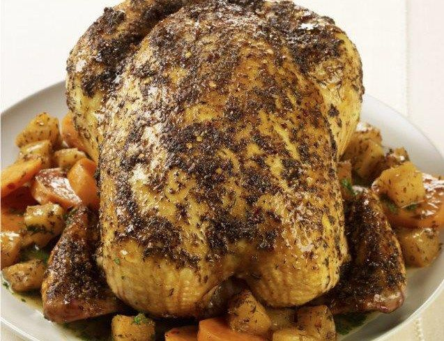 Caribbean roasted chicken with pineapple and sweet potatoes
