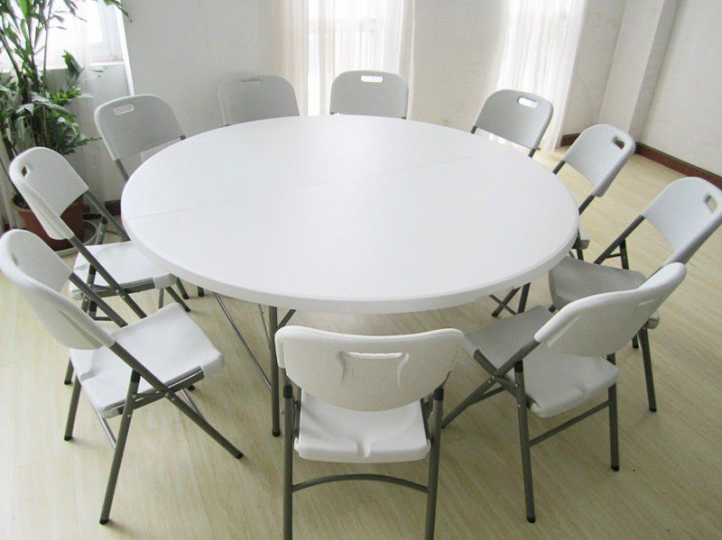 6ft Portable Plastic Folding Round Table And Chairs Set Round Table And Chairs Round Dining Table Plastic Tables