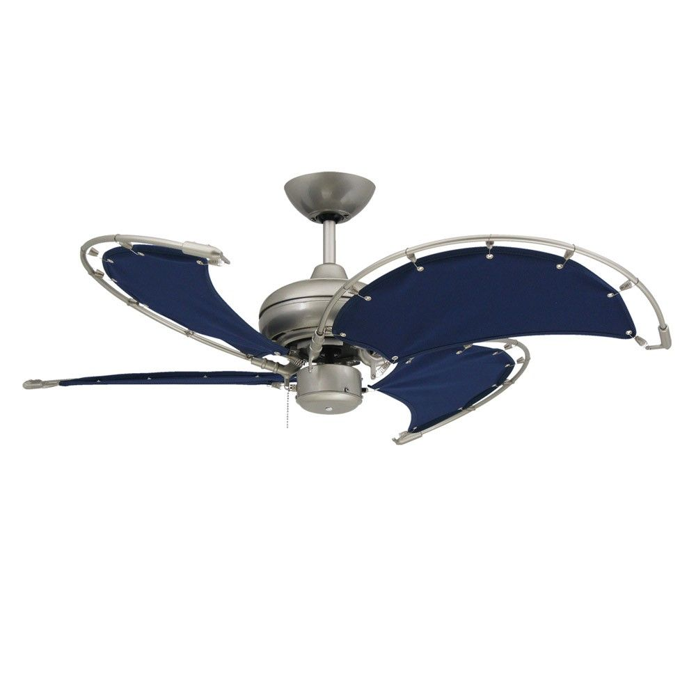 Voyage Nautical Ceiling Fan Brushed Nickel With 40 Inch Sail
