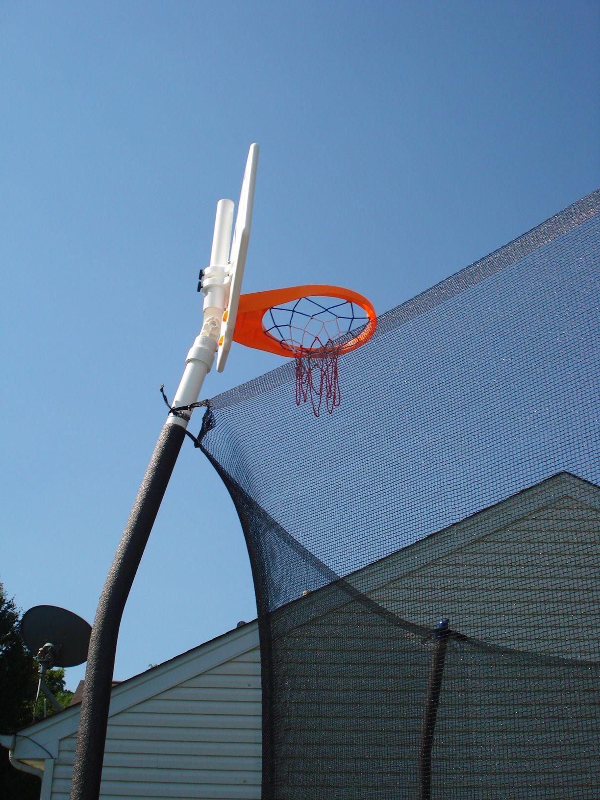 Basketball Hoop On A Skywalker Trampoline Backyard Trampoline Outdoor Trampoline Diy Basketball Hoop