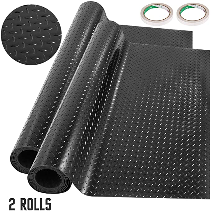 Happybuy Garage Floor Mats 2 Rolls 14.7 x 3.6 Ft Garage Mat 2.5mm Thickness Black Garage Flooring PVC Garage Mats for Under Car