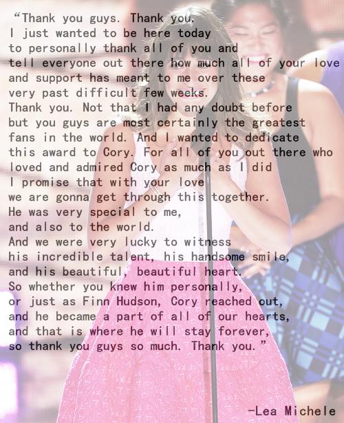Lea Michele's speech at the teen choice awards 2013