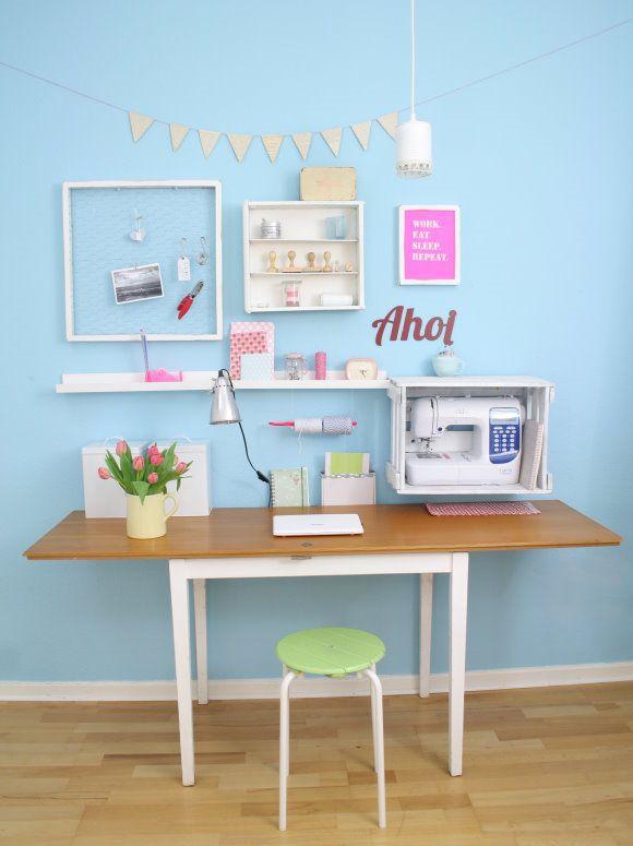 aufbewahrung n hmaschine wohnideen einrichtung deko schreibtisch arbeitszimmer und arbeitsplatz. Black Bedroom Furniture Sets. Home Design Ideas