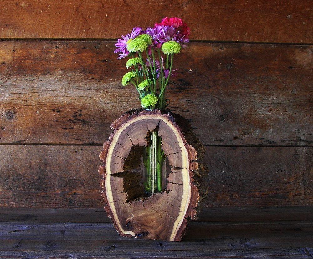 Rustic Hollow Log Vase Black Walnut Wood