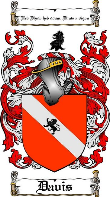 DAVIS FAMILY CREST -  DAVIS COAT OF ARMS gifts at www.4crests.com