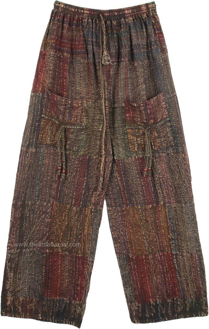 Unisex Boho Cotton Seersucker Wide Leg Pants with