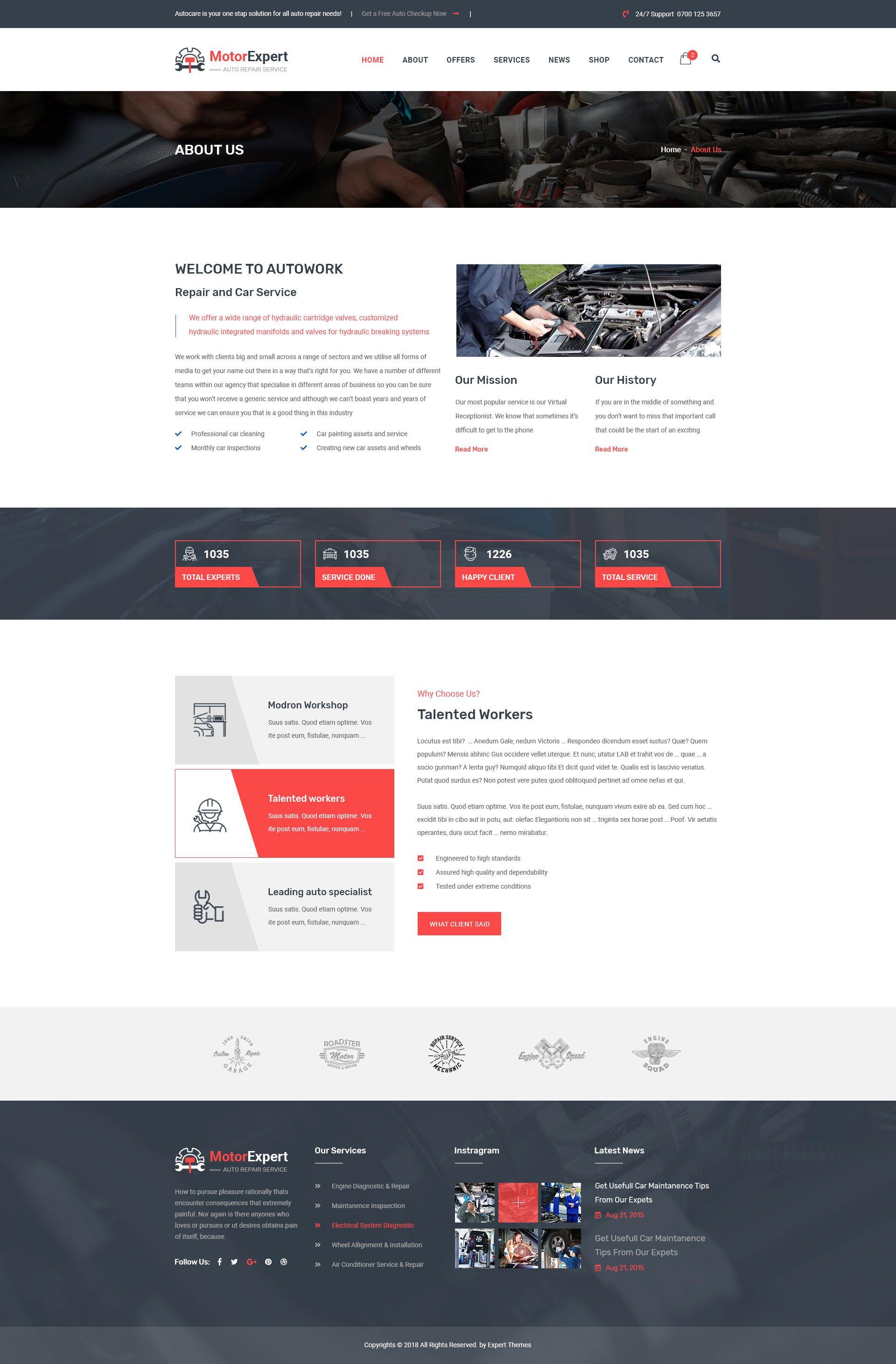 Motor Expert Auto Mechanic & Car Repair PSD Template #Auto