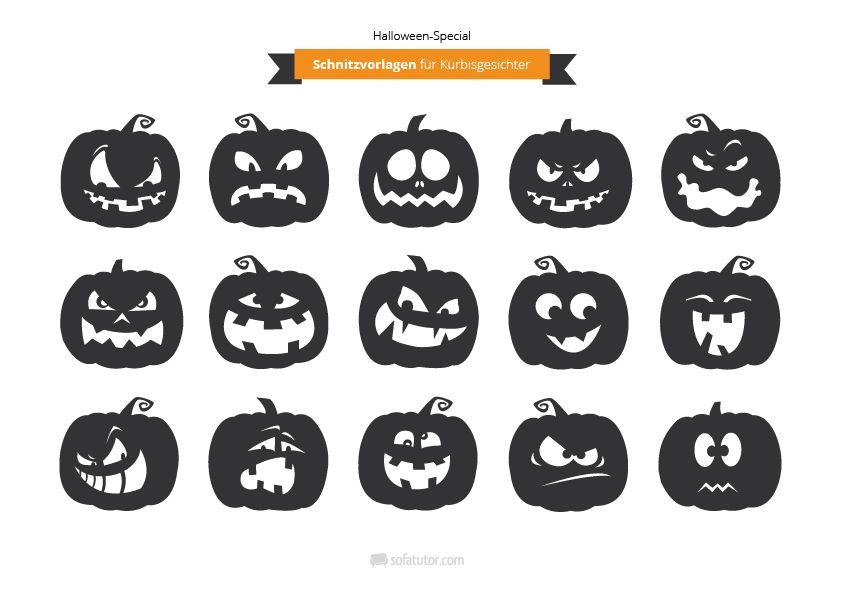 Halloween Schnitzvorlagen für Gruselkürbisse (