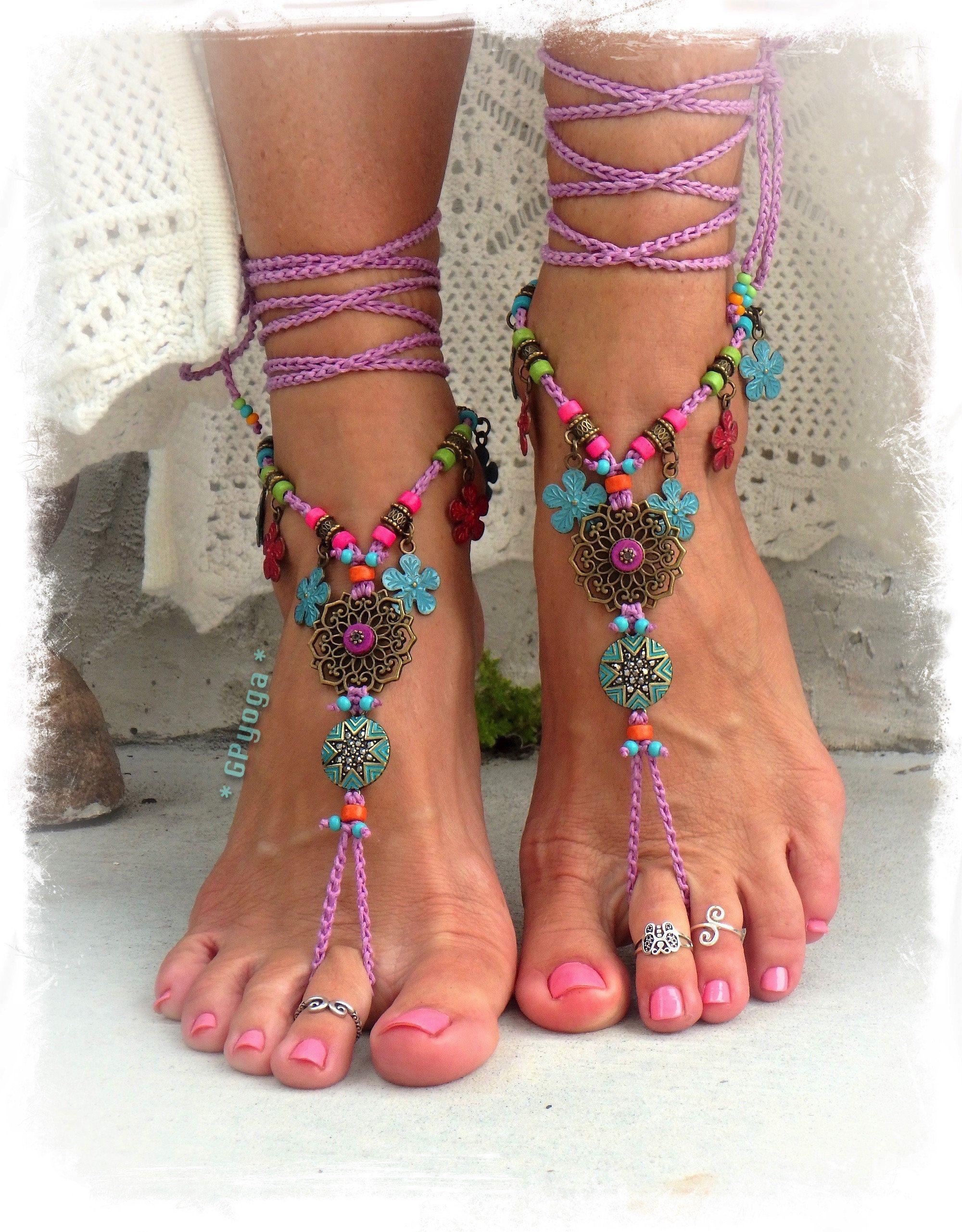 Flower girl lilac barefoot sandals purple hippie dance