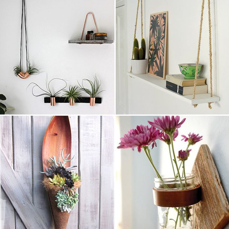 24 creative ways to hang indoor and outdoor plants along the wall including succulents air. Black Bedroom Furniture Sets. Home Design Ideas