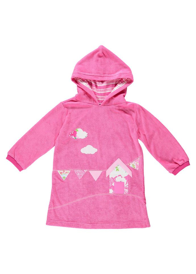 6172c6ed741 Beach Hut Applique Long Hooded Towel Top by Mitty James Kids Beachwear