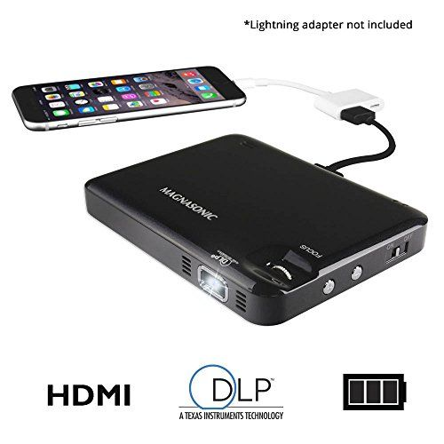 Magnasonic LED Pocket Pico Video Projector, HDMI, Rechargeable Battery, Built-in Speaker, DLP, 60 inch Hi-Resolution Display for Streaming Movies, Presentations, Smartphones, Tablets, Laptops (PP60)   Top Latest New Tech And Cool Gadgets