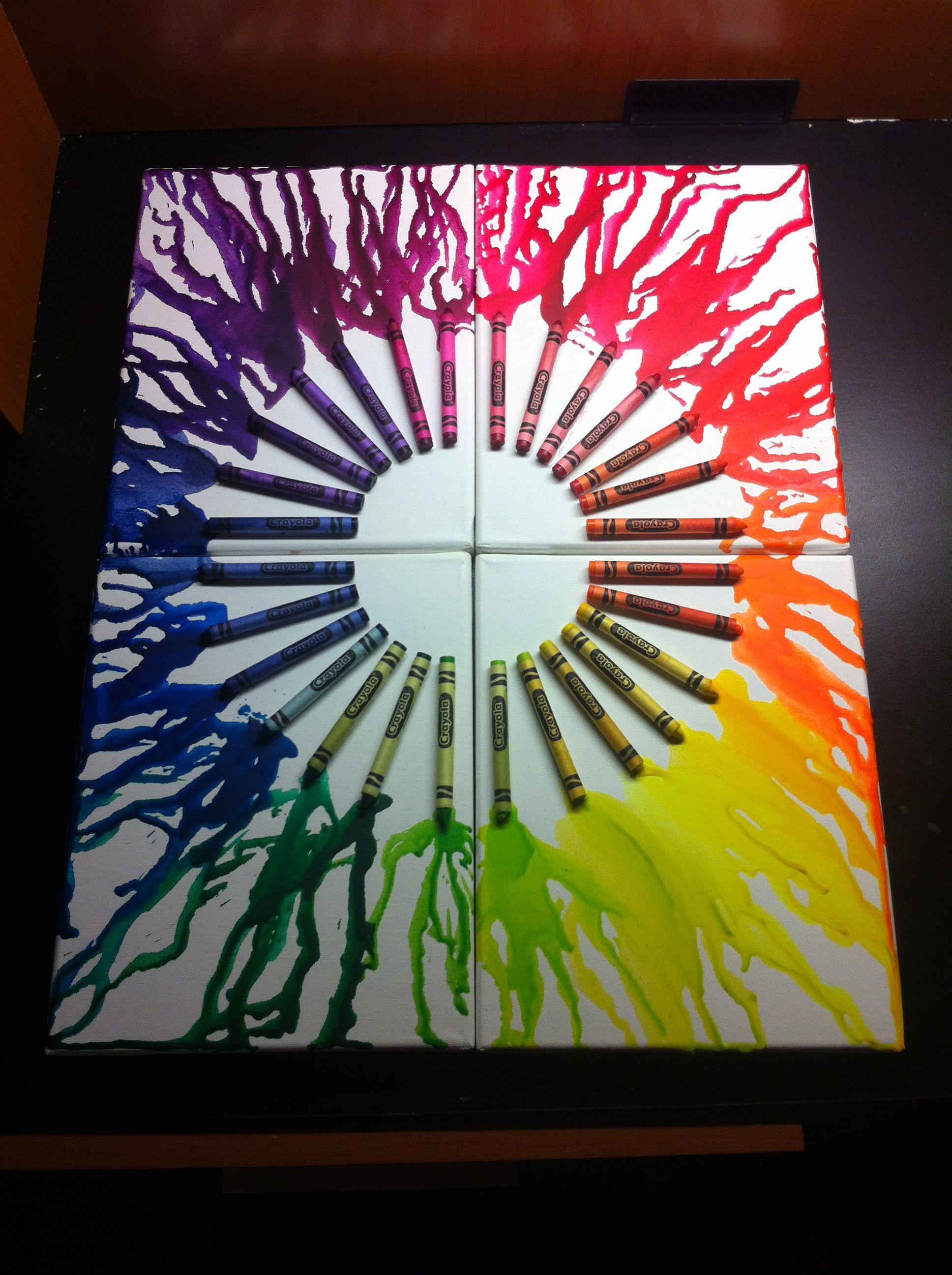Megan Bishop Original Crayon Color Wheel 4 Canvas Ideas