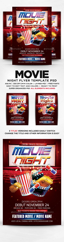 movie night flyer template psd