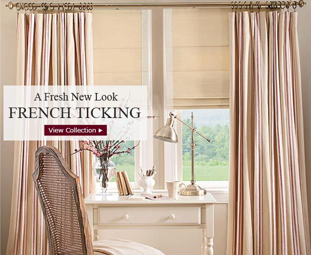 french ticking in red from country curtains