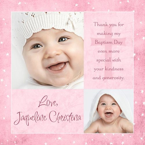 Modern Girl Baptism Thank You Card Two Photo Pink Starry Baby Baptism Thank You Cards Baptism Girl Christening Cards
