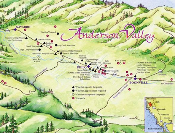 Map Of Anderson Valley America S Greenest Wine Country Travel