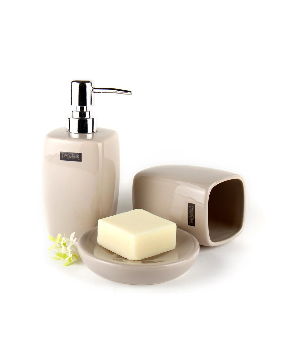 Beige decorative bathroom accessories set. Vipme.com offers high ...