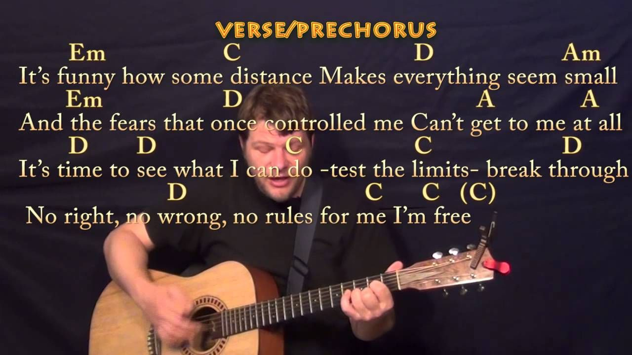 Let It Go Frozen Strum Guitar Cover Lesson With Chords And Lyrics Lyrics And Chords Banjo Lessons Mandolin Lessons