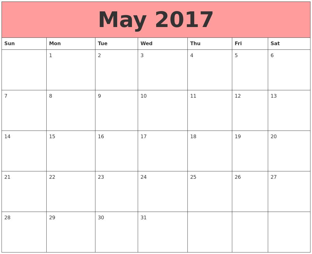 May  Calendar Template  May  Calendar