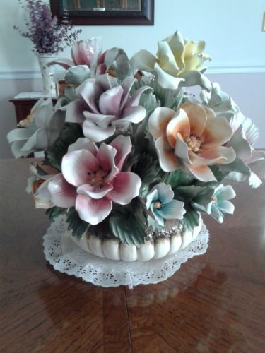Capodimonte Large Flower Basket Ebay Centerpiece In