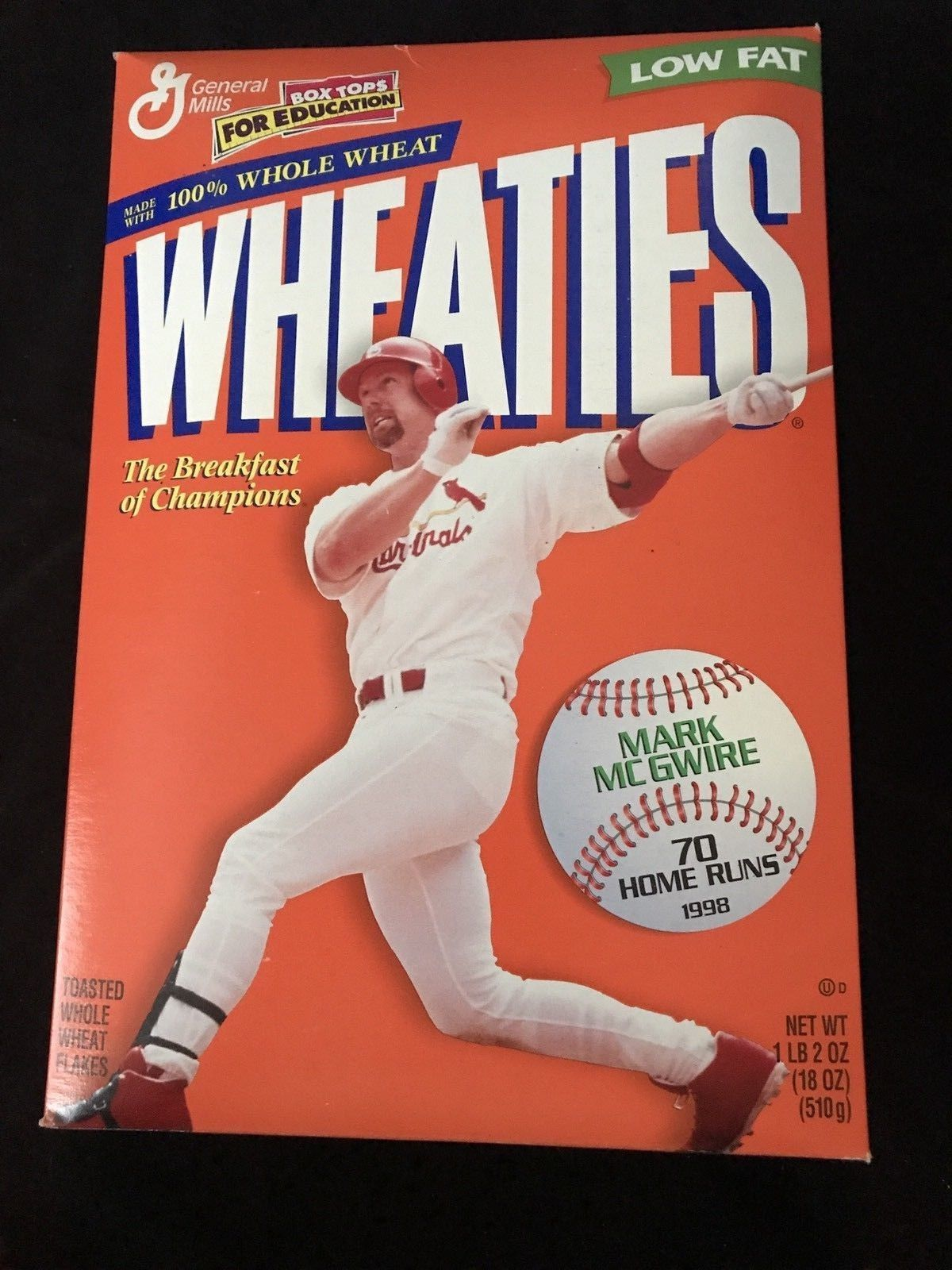 Wheaties Box Mark Mcguire 70 Home Runs New Unopened Homerun Breakfast Of Champions Wheaties Cereal
