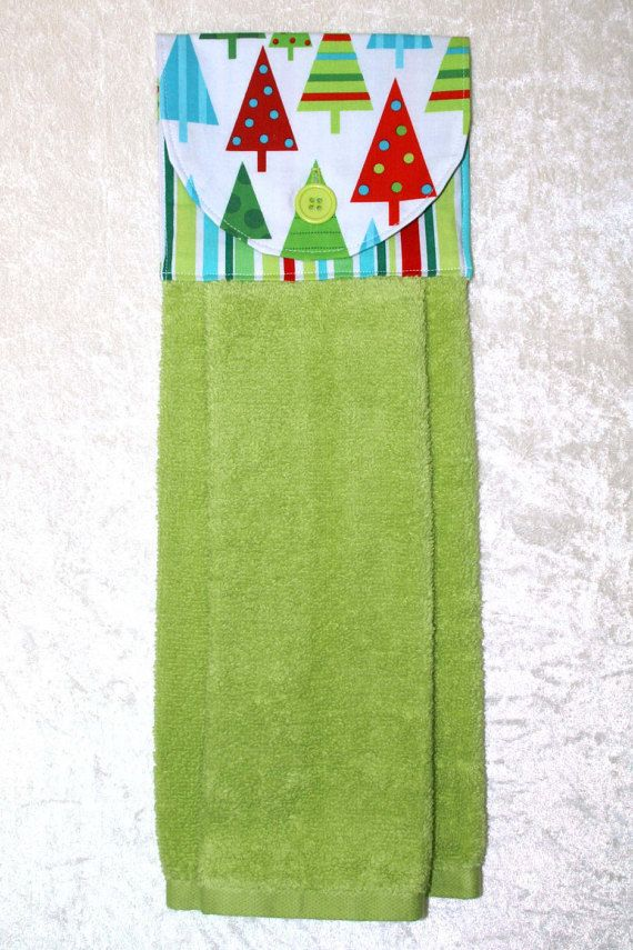 Holiday Hanging Hand Towel • Christmas Trees • Retro Holiday Kitchen