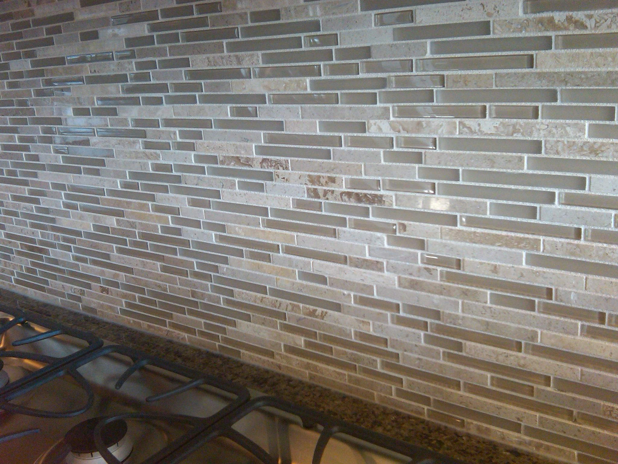 - Backsplash... Love The Long Thin Tiles Of Glass Mixed With Stone