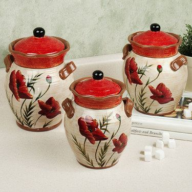 Poppies Kitchen Canister Set Home Decor Pinterest Kitchen Canister Sets Kitchen Canisters