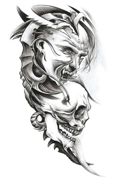 A Very Scary Joker Tattoo Design Photo 1 Sleeve Tattoos Joker Tattoo Design