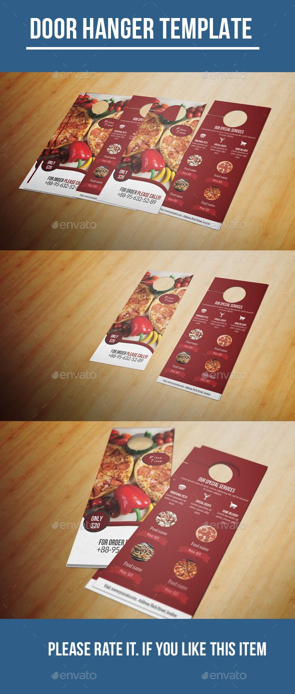 Elegant Restaurant Door Hanger Template Steakhouse BBQ