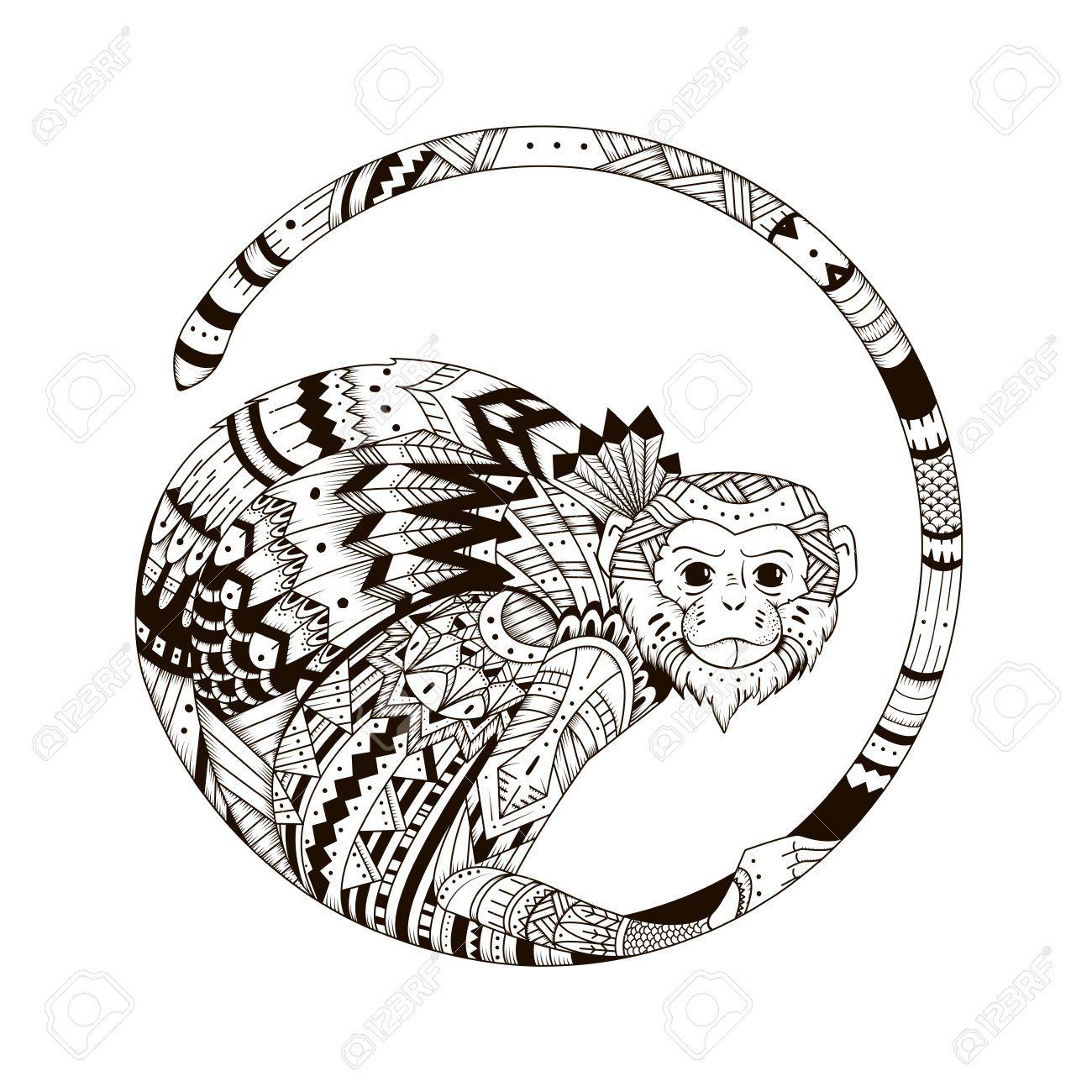Vecteur style singe zentangl illustration graphique de style de zentangle 2016 croquis du - Coloriage petit singe ...