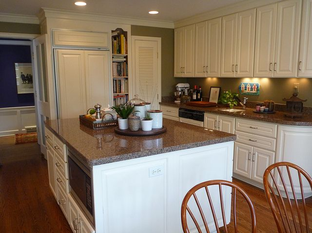 White Kitchen Cabinets, Brown Counters, Olive Green Walls