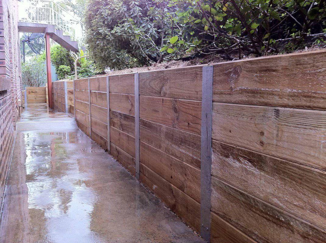 Timber Retaining Wall Galvanised I Beams Landscaping Retaining Walls Garden Retaining Wall Building A Retaining Wall