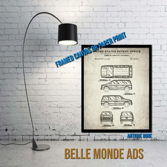 1984 Plymouth Voyager Automobile Patent Print – Vintage Minivan Poster Art – Classic Car Decor – Automobilia Gift – Paper or Canvas