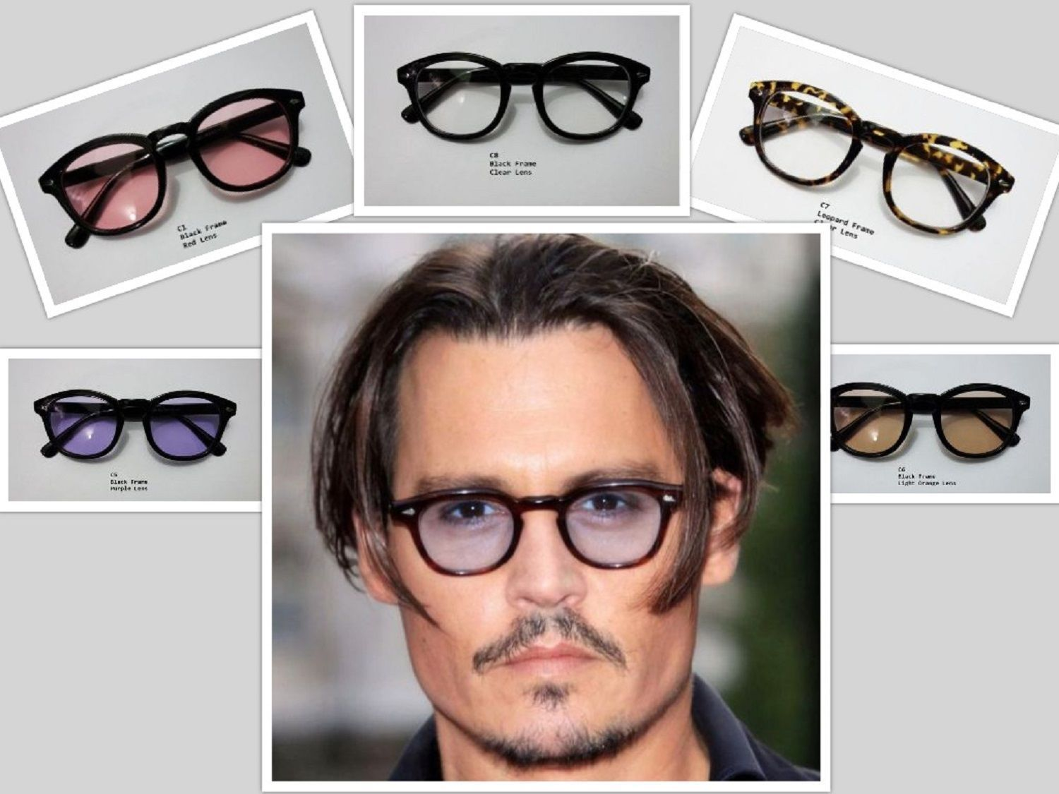 196f906f76 Sunglasses Vintage Johnny Depp Men Frame Retro Clear Tinted Lens ...