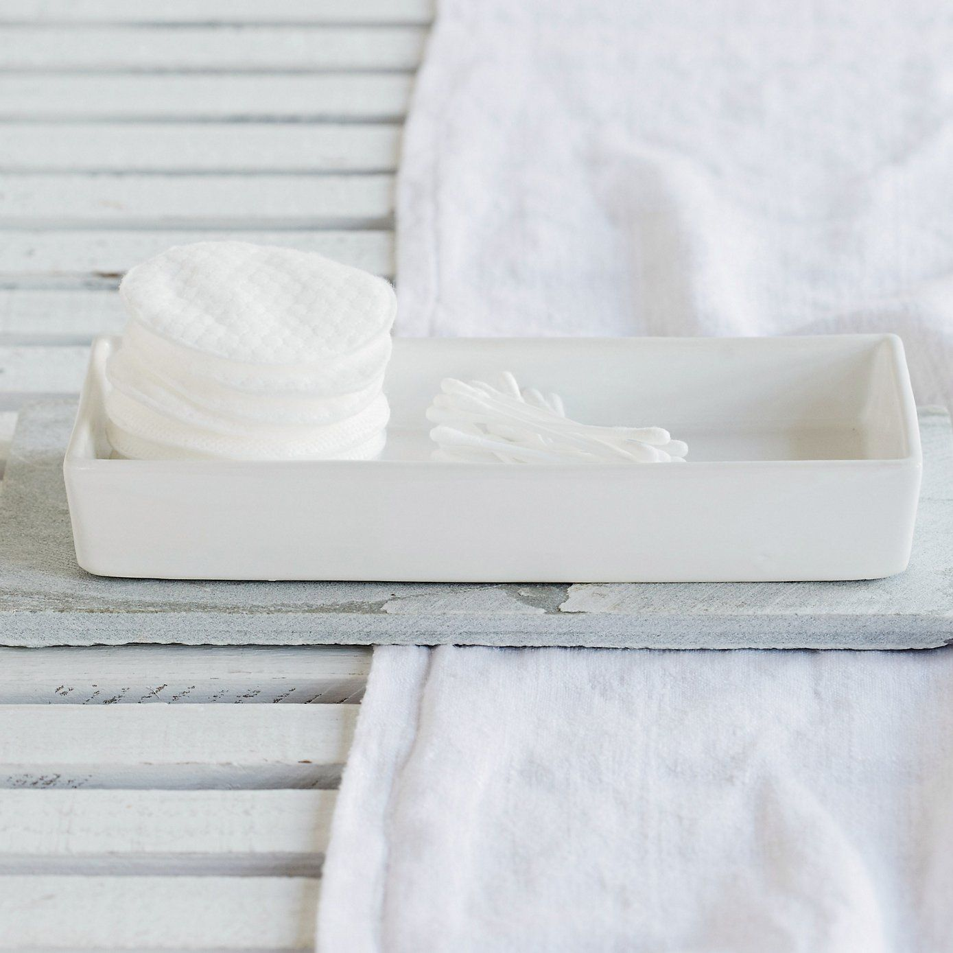 Ceramic Rectangular Container - White | The White Company | Bathroom ...