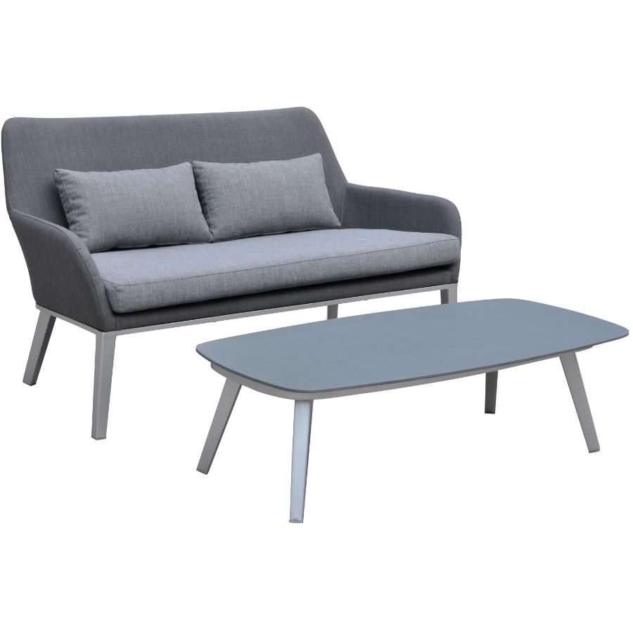 West Palm Metal Loveseat And Table With Cushions Patio Lounge Furniture Furniture For Small Spaces Love Seat