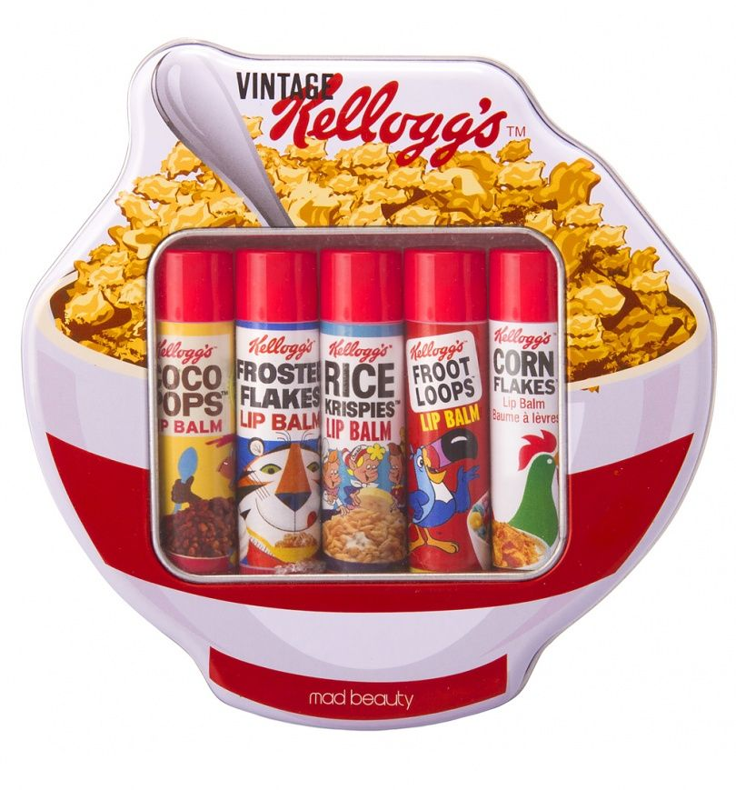 We love a variety pack, much more choice and you can choose depending on your mood for the day. So we are super psyched that you can now decide on a different flavoured vintage #Kellogg's #lipbalm every day too, with a choice of 5 different flavours packed neatly into a cute kellogg's tin. xoxo