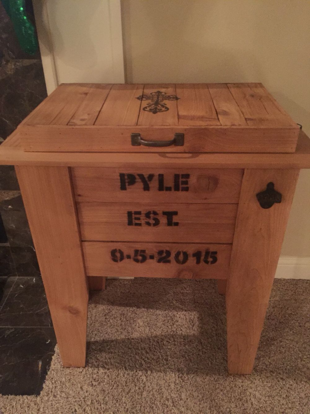 Ice Chest Wooden Crate Personalized With Family Name Wedding Date