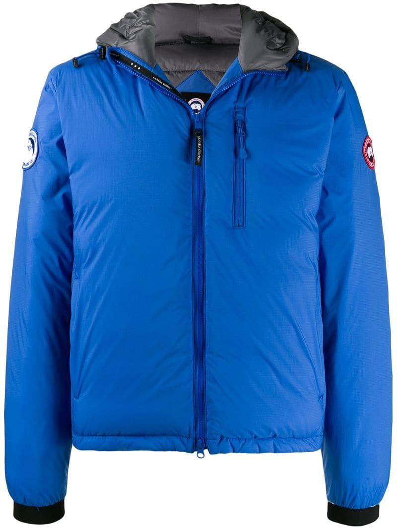 Canada Goose Pbi Lodge Slim Fit Packable 750 Fill Power Down Hooded Jacket In Blue Modesens