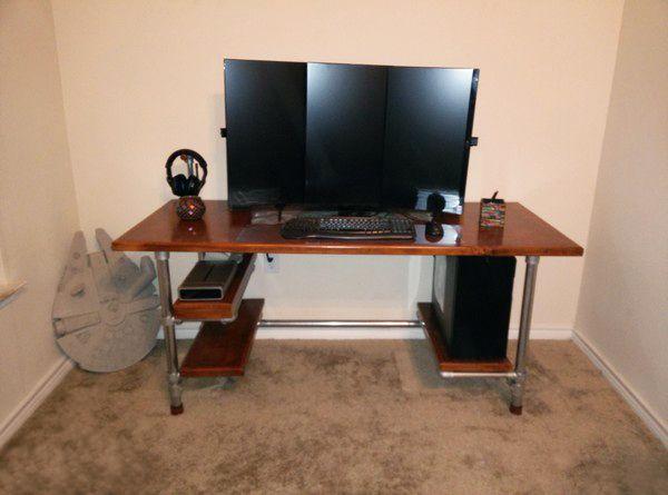wish i was as handy as this guy custom made diy desk with - Custom Computer Desk Ideas