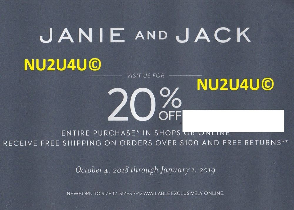 image about Janie and Jack Printable Coupons titled JANIE AND JACK 20% OFF YOUR Full Buy COUPON EXPIRES 1