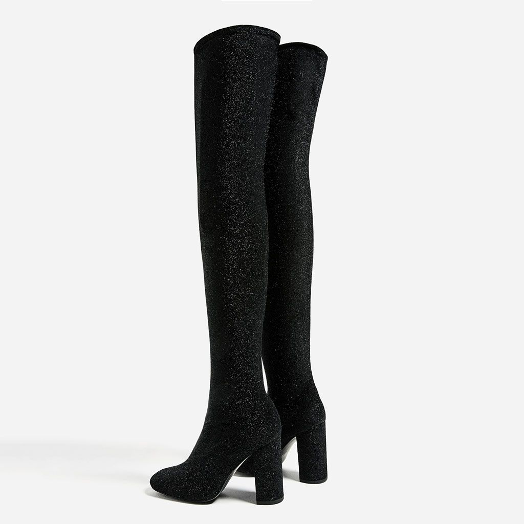 OVER - THE-KNEE HIGH HEEL SOCK BOOTS