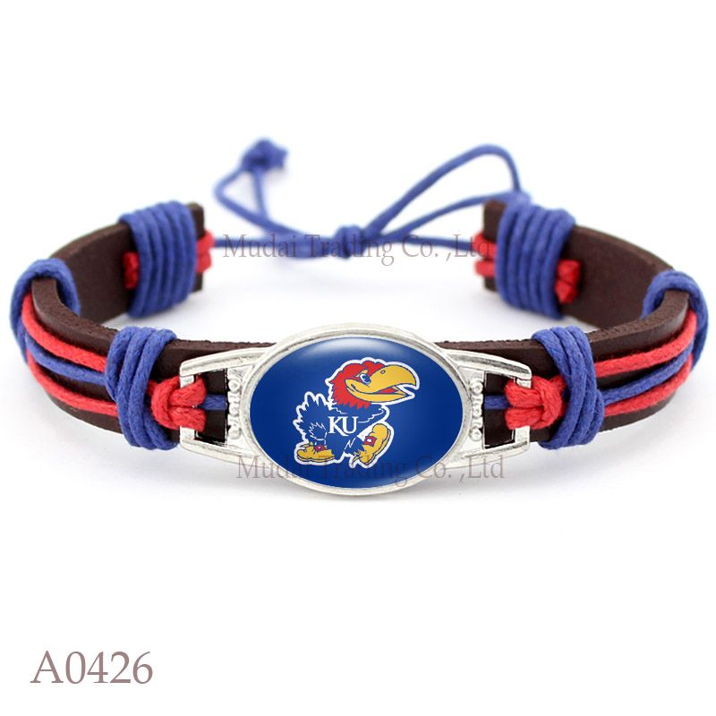 10 Pcs Lot Kansas Jayhawks Adjule Leather Cuff Bracelet For Athletic Team Mens
