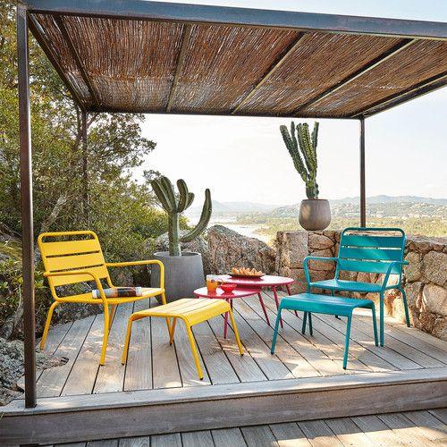 fauteuil de jardin et repose pieds en m tal bleu canard fauteuils de jardin repose pieds et. Black Bedroom Furniture Sets. Home Design Ideas