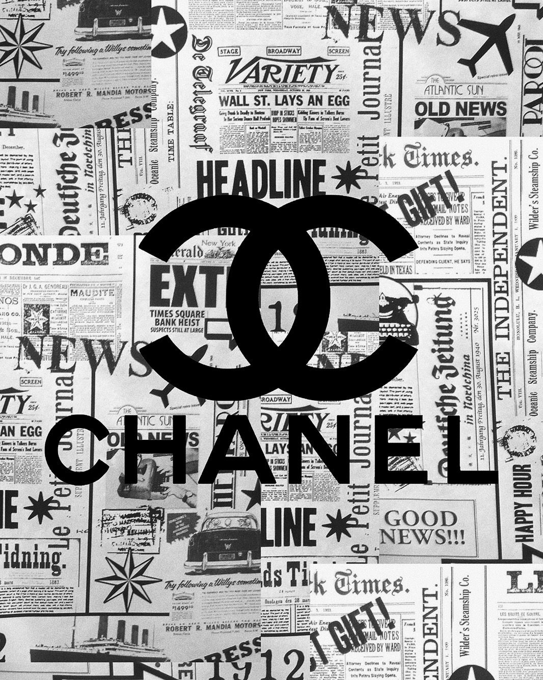 Chanel In 2020 Black And White Picture Wall White Aesthetic Photography Black And White Photo Wall