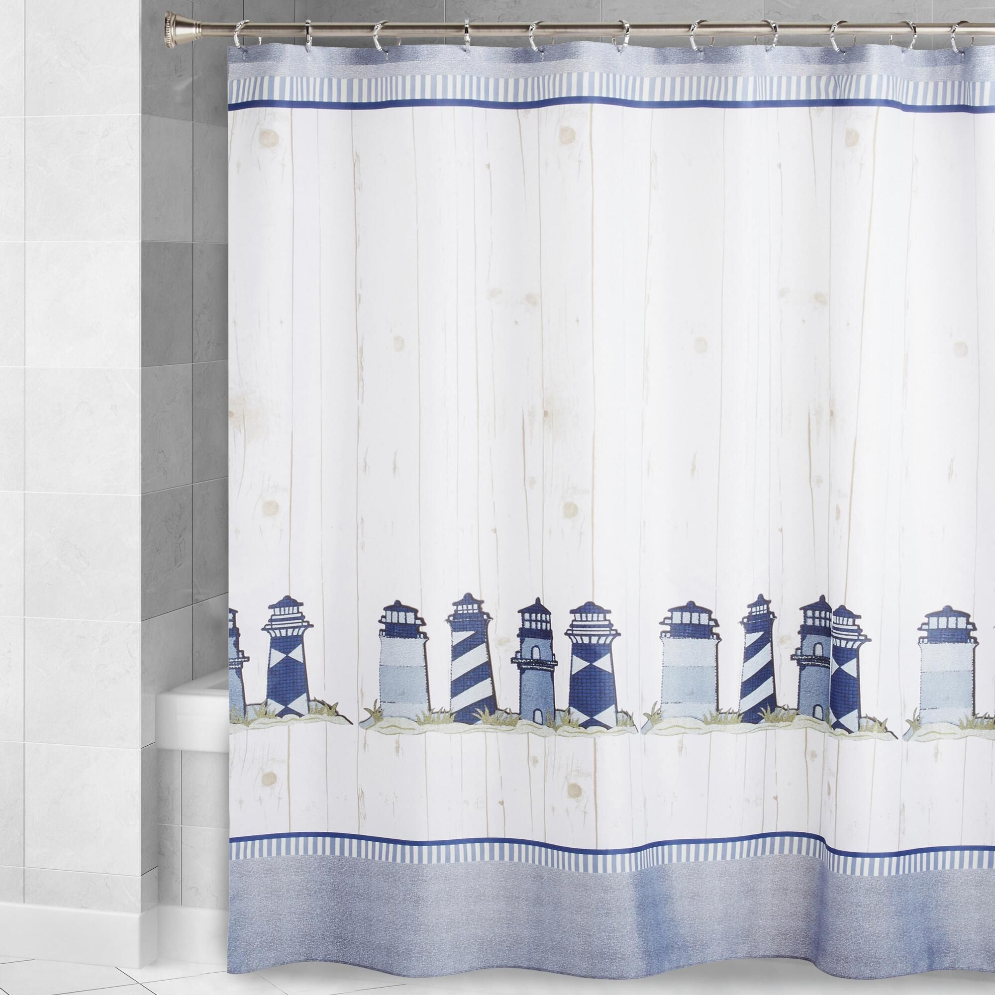It S A Coastal Scene With Our Stylish Shower Curtain Featuring A